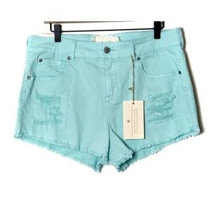 Altar'd State Turquoise Cut Off Shorts Size 31/13